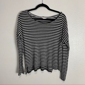 F21 Gray and Black Striped Long Sleeve